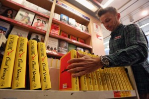 Boxes of J.K. Rowling's first novel for adults, Casual Vacancy, being unpacked at a bookstore