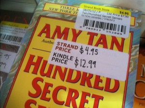 The Strand Book Store displays Kindle price on price tag