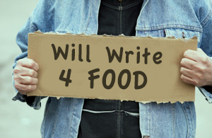 Will Write For Food cardboard sign