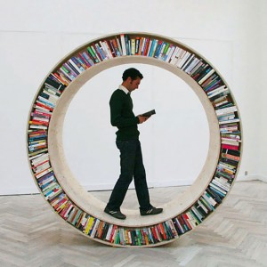Circular walking bookshelf - who wants one?