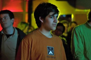 Young Aaron Swartz in brown T-shirt