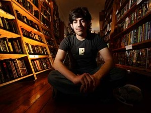Aaron Swartz sitting in bookstore Reuters photo