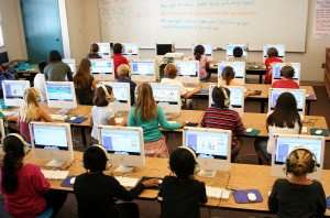 computer lab in an elementary school