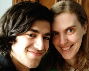 Aaron Swartz with partner Taren Stinebrickner-Kauffman New York Post photo