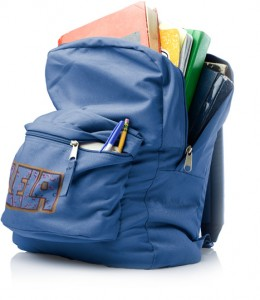 textbooks in backpack