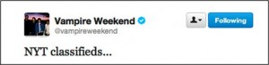 Vampire Weekend New York Times classified ad
