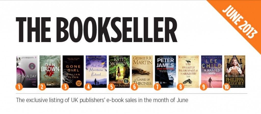Digital book ranking - Screen shot of The Bookseller's June 2013 ranking