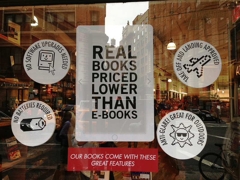 A sign at The Stand Bookstore in Manhattan