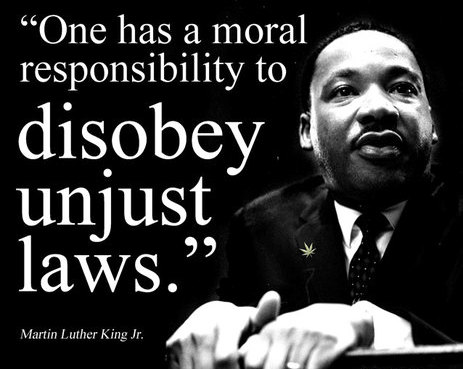 A description of civil disobedience as the refusal to obey civil laws