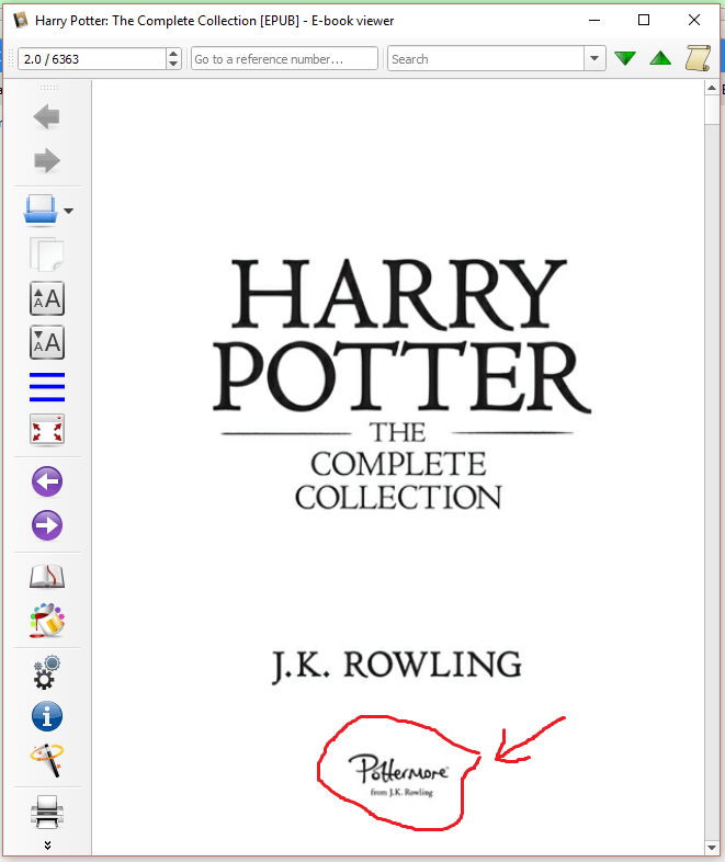 Title page of the Harry Potter Collection e-book